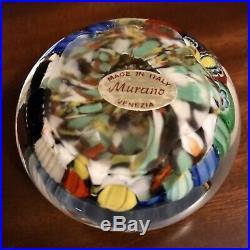 Vintage Retro MCM Millefiori Murano Art Glass Paperweight Original Label