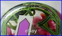 Vintage Richard Olma Studio Art Glass Paperweight Large Floral Signed 1990