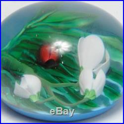 Vintage Saint Louis Art Glass Paperweight Lilies & Ladybug