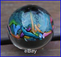 Vintage Scattered Millefiori Cane Art Glass Miniature Rainbow Marble Paperweight