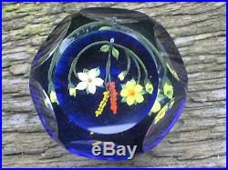 Vintage Signed J. P. Contemporary Indented Circle Flowers Paperweight