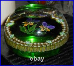 Vintage Signed P in cane Perthshire Floral & Canes Beautiful Paperweight