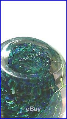 Vintage Studio Art Glass Egg Paperweight Signed By Eric Peter Bracken ORCHID
