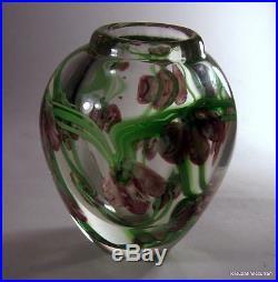 Vintage Studio Art Glass Paperweight Vase with Art Nouveau Purple Iris