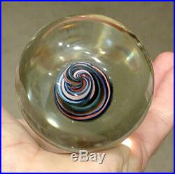 Vintage VENINI / MURANO Modern Art Glass MARBLE Ribbon PAPERWEIGHT / SIGNED