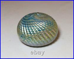 Vintage hand blown aurene iridescent John Gilvey studio art glass paperweight