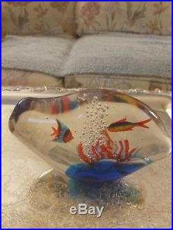 Vintage signed Murano fish aquarium paperweight, Abstract shape approx. 5inx8in