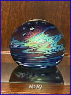 Vtg 1987 LUNDBERG STUDIOS 3.25 Iridescent Glass Moon Stars Waves Paperweight