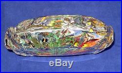 Vtg MURANO Fish AQUARIUM Art Glass BLOCK Paperweight SCULPTURE L3