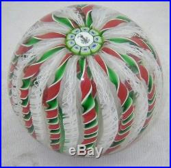 Vtg Perthshire Scotland 1985 Christmas Latticino Crown Glass Paperweight Signed