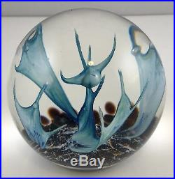 Vtg Selkirk Glass Large Art Glass Paperweight Blue Scimitar Edition 500 Signed
