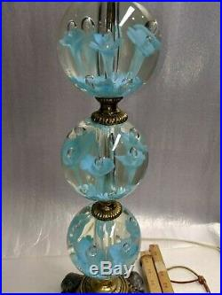 Vtg St. Clair Blue Trumpet Flower Paperweight Art Glass Table Lamp withFinial