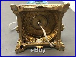 Vtg St. Clair Blue Trumpet Flower Paperweight Art Glass Table Parlor Lamp LightA
