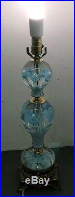 Vtg St. Clair Blue Trumpet Flower Paperweight Art Glass Table Parlor Lamp LightB