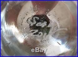 WV American Art Glass Hand Blown Green, Purple, Yellow Jellyfish Paperweight