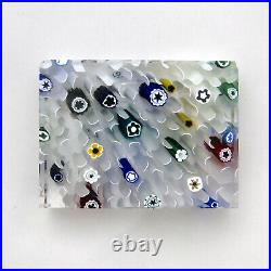 Whitefriars millefiori'thermometer block' glass paperweight signed dated 1972
