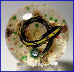 William Manson, Sr. 2007 Yellow & Black Striped Snake Desert Ground Paperweight