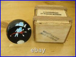 William Manson Weight in a Crate Bluebird on Branch Paperweight 1998 2 3/8