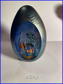 Zellique Art Glass Paperweight Dichroic Window Aquarium Angel Fish 4.5 Signed